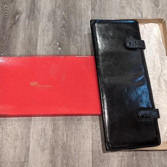 Bosca Black Vintage Leather Tie Carry Holder